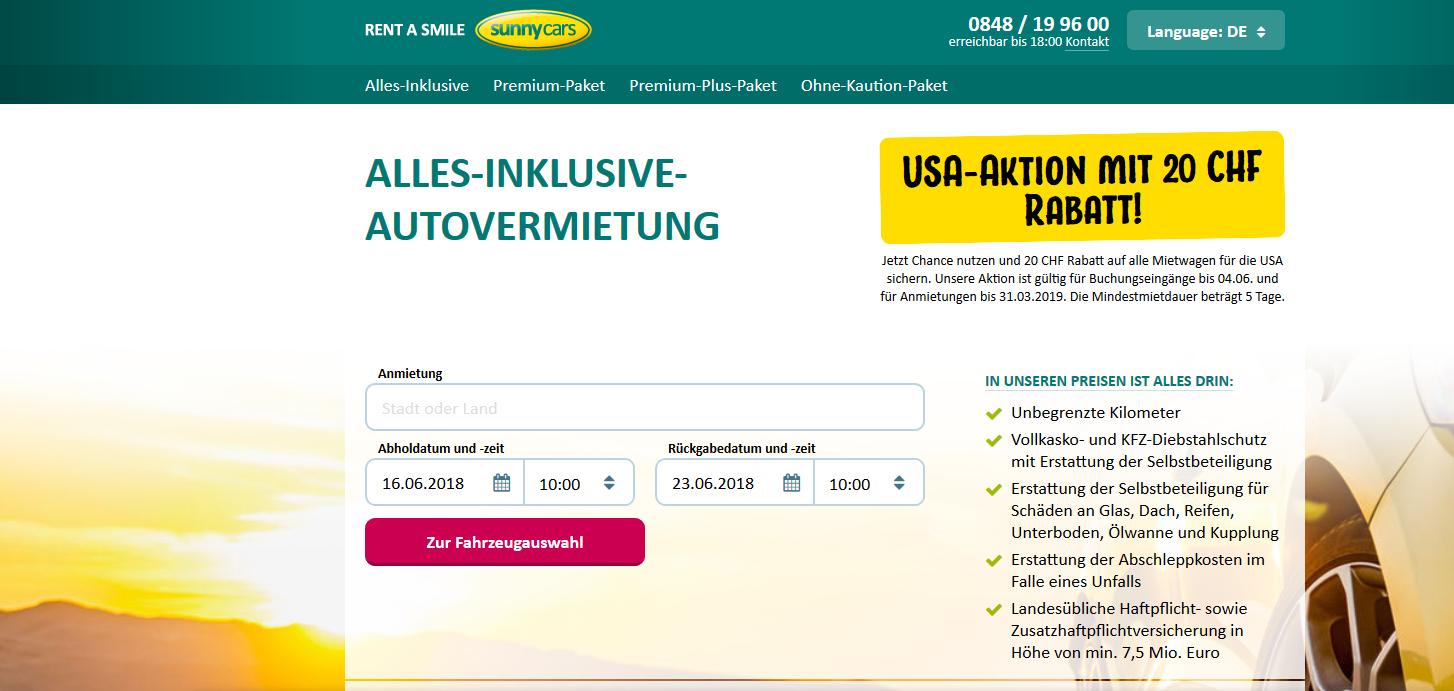 Sunny-Cars - Printscreen Website
