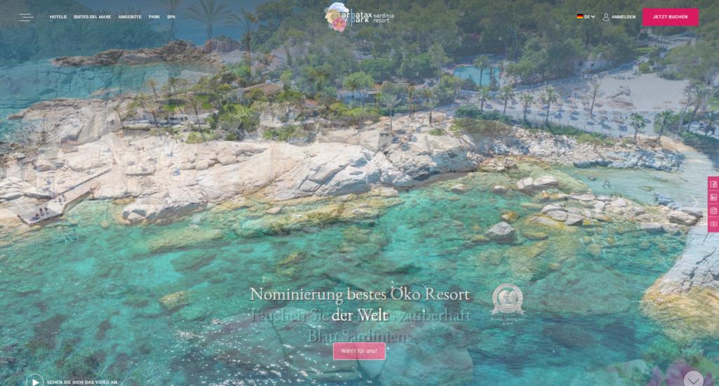 Arbatax Park Resort - Printscreen der Website