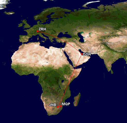 Flugroute nach Südafrika